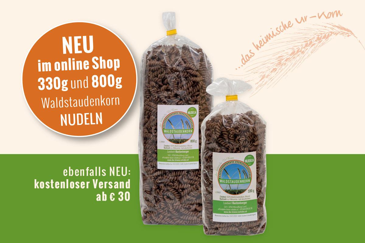 NEU im Shop: 330g & 800g Waldstaudenkorn Nudeln